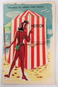Menton France Novelty Fold Out Views Tanned Woman at Beach Postcard J76952