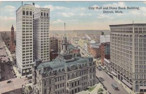 DETROIT, Michigan, 1900-1910's; City Hall And Dime Bank Building