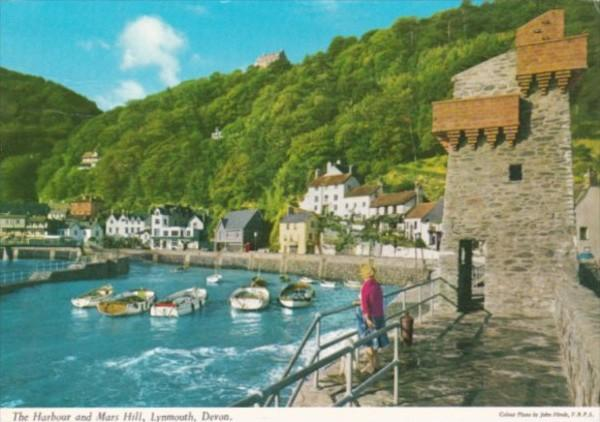 England Lynmouth The Harbour and Mars Hill