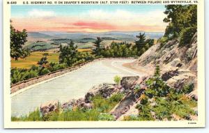 Postcard VA US Highway 11 Drapers Mountain Pulaski Wytheville Virginia Linen E10
