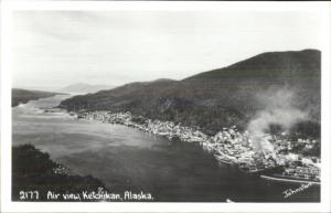 Ketchikan AK Aerial View Johnston Real Photo Postcard
