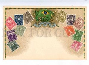 231963 BRAZIL Coat of arms STAMPS Vintage embossed Zieher PC