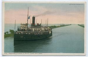 Great Lakes Steamer Sainte Claire Ship Canal Michigan 1910c Phostint postcard