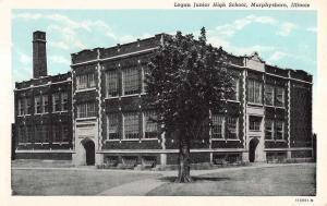 Murphysboro Illinois Logan Junior High School Entrance Antique Postcard K10171