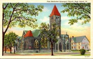 Illinois Rock Island First Methodist Episcopal Church 1948 Curteich