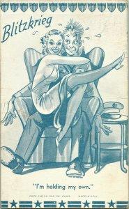 Vtg Comic Postcard Blitzkrieg I'm holding My Own 1941 Exhibit Supply Co Chicago