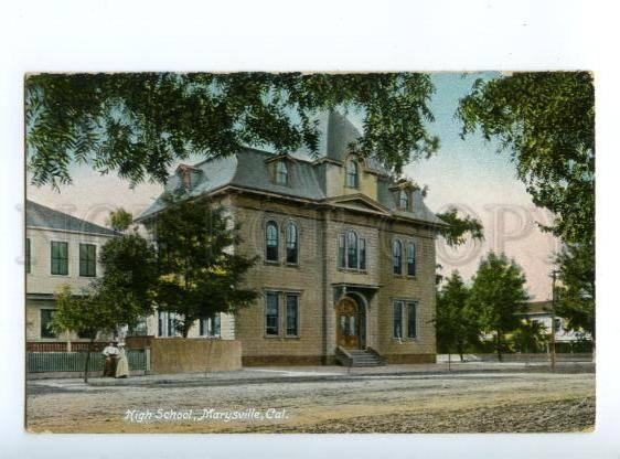 147294 USA Marysville California High school Vintage postcard