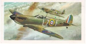Trade Card Brooke Bond Tea History of Aviation black back reprint No 26 Spitfire