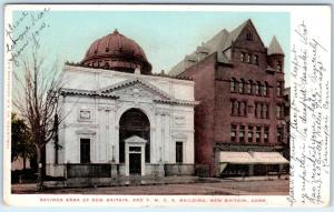 NEW BRITAIN, Connecticut  CT    SAVINGS BANK & Y.M.C.A.   1906   Postcard