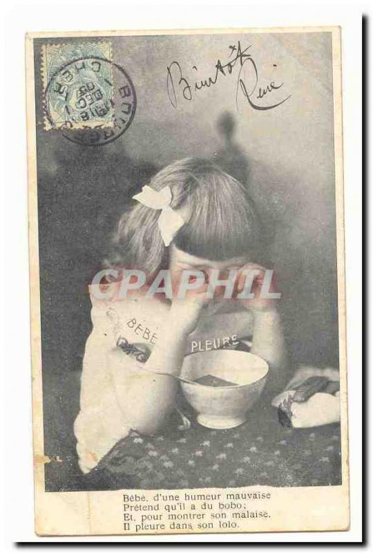 Vintage Postcard Fantaisie Baby of a bad mood claims that it has sore (child)