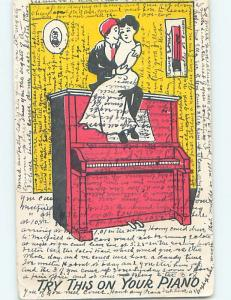 Pre-1907 comic WOMAN SITTING ON MAN'S LAP ON TOP OF PIANO HL2160