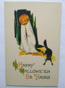 Antique Halloween Postcard Gibson Black Cat Ghost Boy Unused Scarce Original