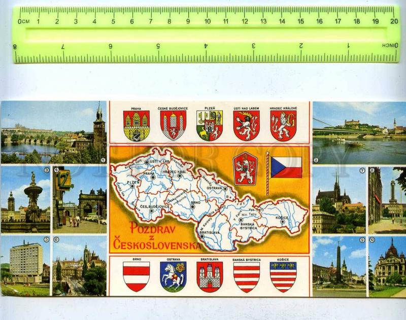 203683 Czechoslovakia MAP Coats of Arms & towns old postcard
