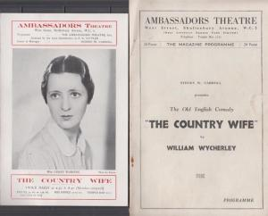 The Country Wife Lesley Wareing Drama 2x Ambassadors London Theatre Programme