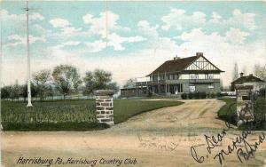 Harrisburg Pennsylvania~Country Club~Enter Through Stone Pillars~1906 Postcard