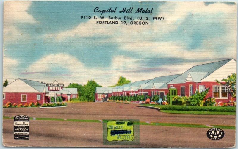 Portland, Oregon Postcard CAPITOL HILL MOTEL Highway 99 Roadside Linen 1957