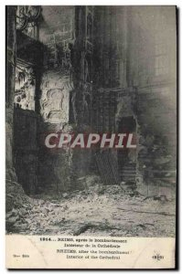 Old Postcard Militaria Reims Interior of the cathedral