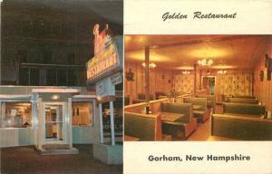 Golden Restaurant 1960s Night Neon Gorham New Hampshire Rudy's postcard 8478