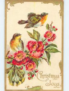 Pre-Linen christmas YELLOW BREASTED BIRDS WITH PINK FLOWERS HL0427