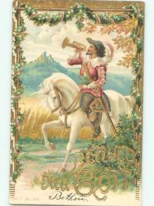 foreign c1910 Postcard MAN RIDING ON BEAUTIFUL WHITE HORSE AC2997