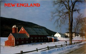 Postcard Connecticut Valley Winter Farm Scene Red Barn New England