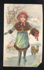 CLARK'S SPOOL COTTON O.N.T. VICTORIAN TRADE CARD PRETTY GIRL ICE SKATING SKATES