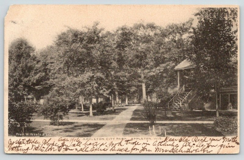 Appleton Wisconsin~Appleton City Park~Pavilion on Right~1906 B&W Postcard