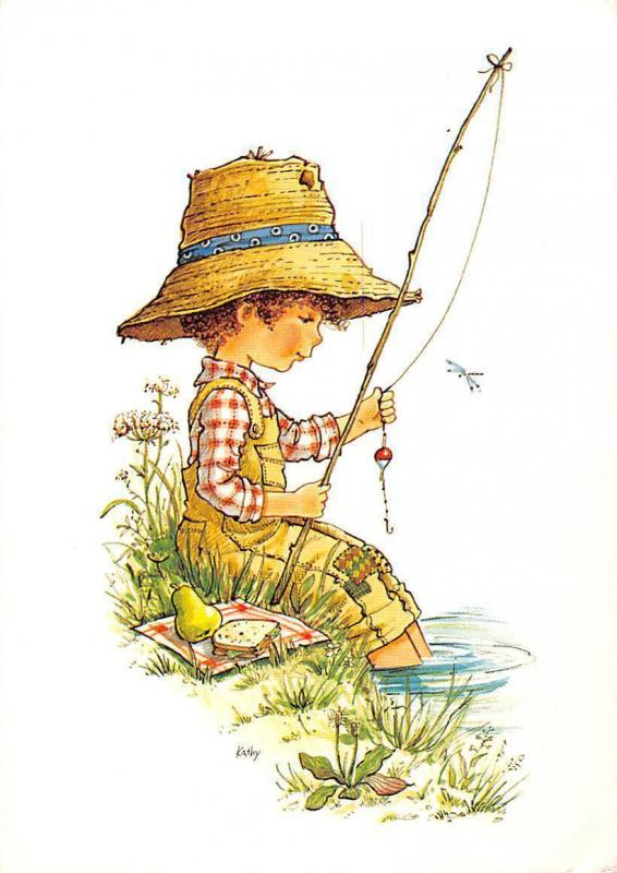 Boy Fishing pear fruit drawing