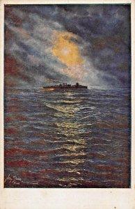 WW1 MILITARY-DEEP SEA BOATS TOUR ITALIAN COAST~ARTIST WILLY STRAKA~POSTCARD