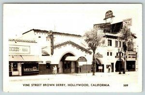 Hollywood California~Vine Street Brown Derby Restaurant~Liquor Store~1940s RPPC