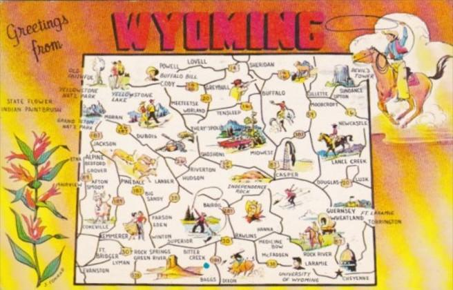 Greetings From Wyoming With Map 1963