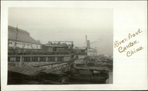 Canton China River Front c1910 Real Photo Postcard