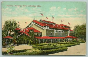 Columbus Ohio~Olentangy Park~Theatre~Flower Beds in Front~Pavilion on Side~c1910