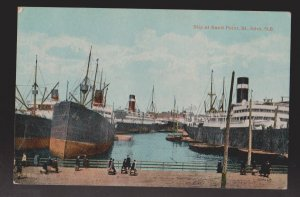 Old Ships Docked At Sand Point, St. John NB - 1910s - Unused - Some Wear