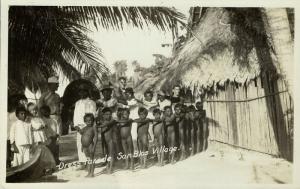 panama, SAN BLAS Island, Village Scene, Native Boys Parade (1930s) RPPC Postcard