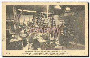 Old Postcard Company Belgian Franco Paris crayons drawing graphite mines Rue ...