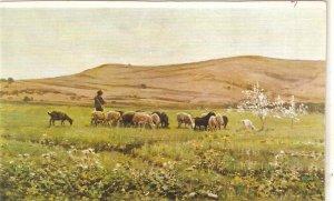 J. Vayreda. Shepherd with his flock Fine painting, viontage Spanish PC