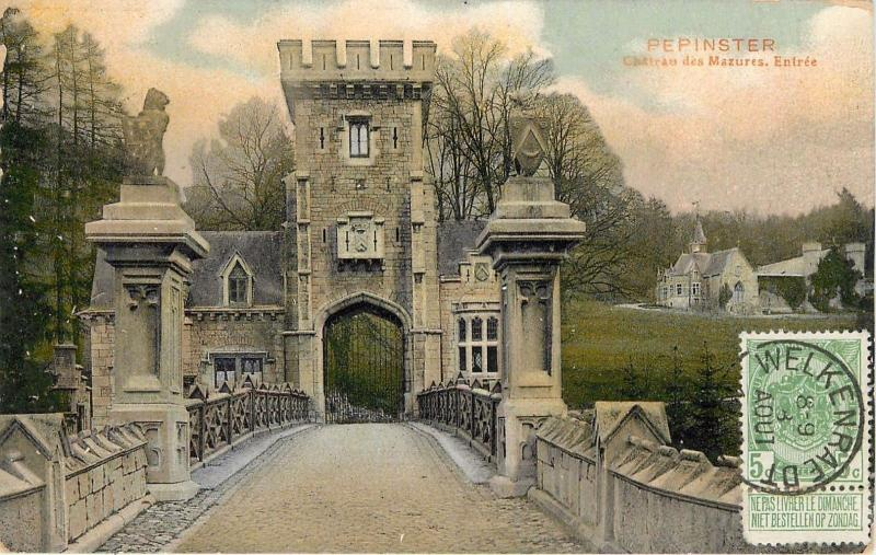 Pepinster Belgium. Chateau des Mazures Entree Postcard. Stamp, Cancell On Front