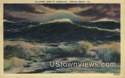 Stormy Surf By moonlight  Virginia Beach VA 1944