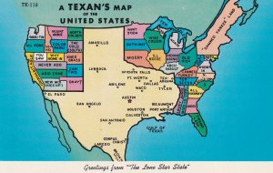 TEXAS, 1950-1960's; A Texan's Map Of The United States