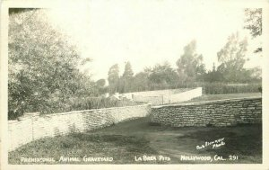 Hollywood California Prehistoric Animal Graveyard 1940s RPPC Photo Postcard 3646
