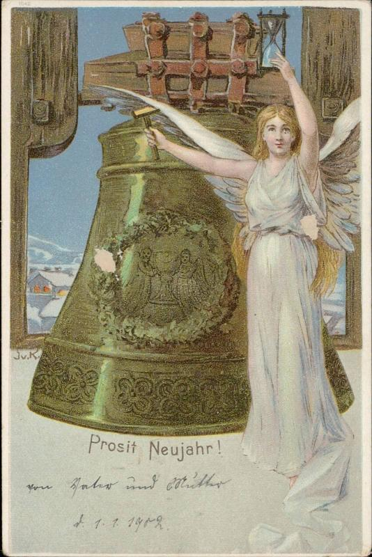 Happy New Year Prosit Neujahr angel huge bell
