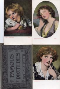 Envelope & Full Set Of Cat Glamour Greuze Painting Postcard s