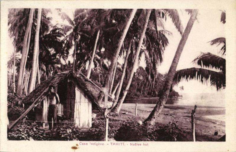 french polynesia, TAHITI, Native Hut (1920s) Spitz Curio Store Papeete Postcard