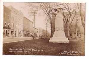 Real Photo, Downtown, Soldiers, Sailors Monument 1907, Burlington, Vermont