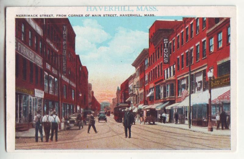 P868 old card trolly cars signs people merrimack street haverhill mass