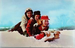 Three Girls and Toboggan Young Women Snow Winter UNUSED Vintage Postcard D96