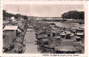 RPPC Vietnam, Saigon, Boats in River, 1950's French Indochina, Houseboats, Asia