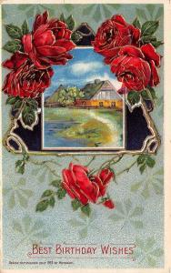 Bright Red Roses Drape Black Triangle~Farm Cottage~Gold Leaf Emboss~1912 Heymann