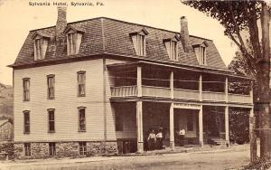 Sylvania Pennsylvania~Hotel~Two Story Porch~Mansard Roof~Ladies on Steps~1912 PC